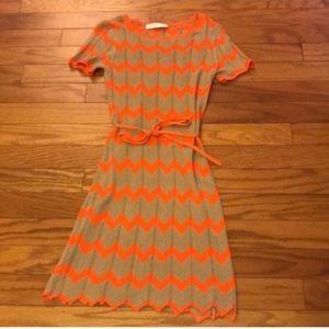 Trina Turk Orange/Tan Chevron Dress